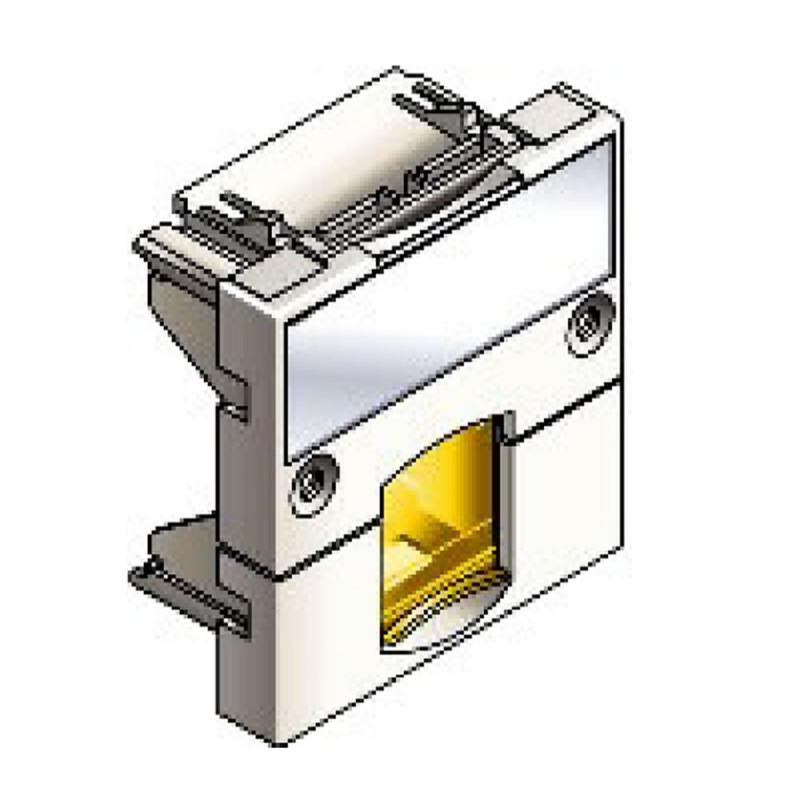 Infraplus Plastron RJ45 blanc adaptable 45x45mm (volet Jaune) (Connectique)