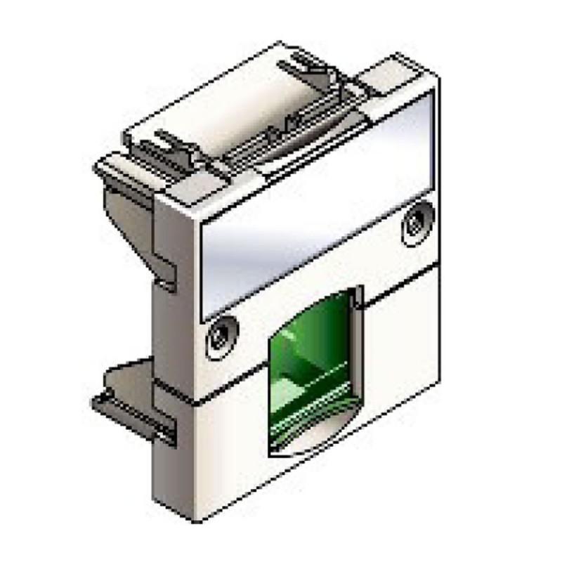 Infraplus Plastron RJ45 blanc adaptable 45x45mm (volet Vert) (Connectique)