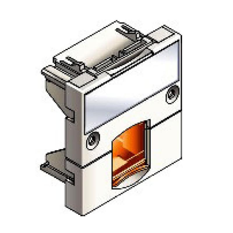 Infraplus Plastron RJ45 blanc adaptable 45x45mm (volet Orange) (Connectique)