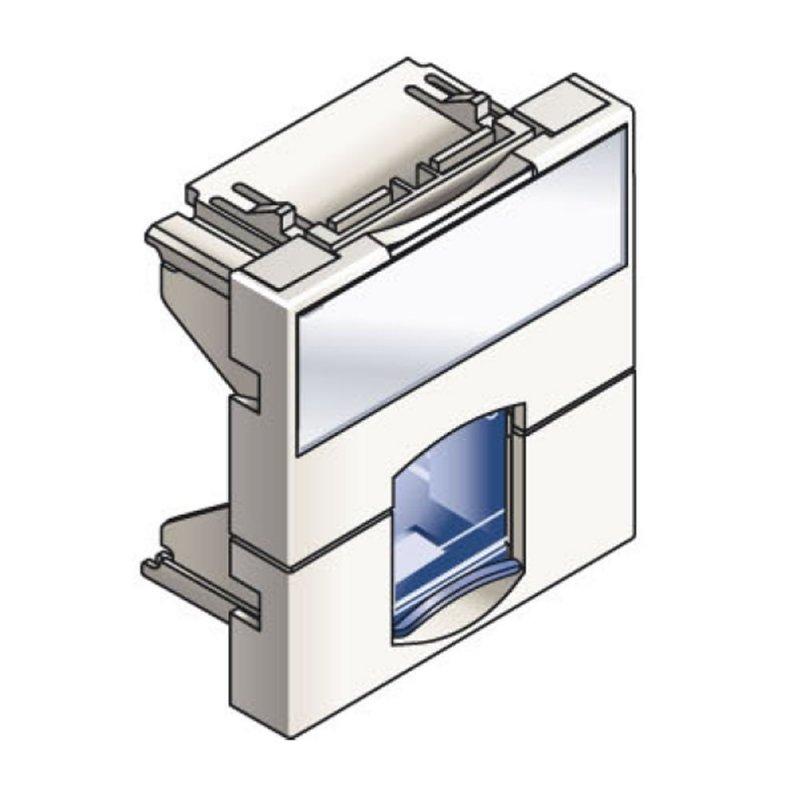 Infraplus Plastron RJ45 blanc 45x45mm (volet Bleu) (Connectique)