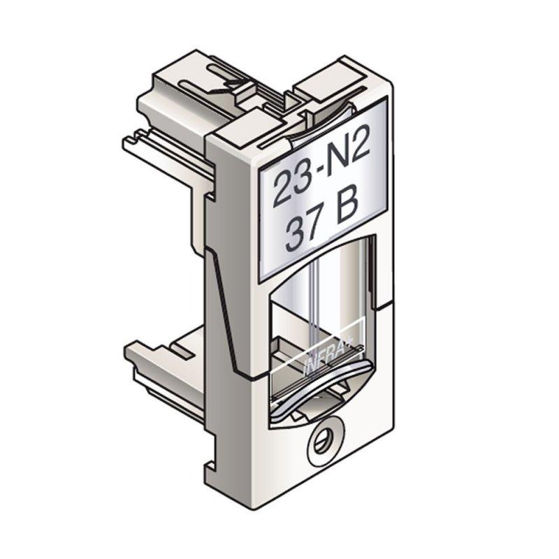 Infraplus Plastron RJ45 blanc adaptable 22.5x45mm (volet Incolore) (Connectique)