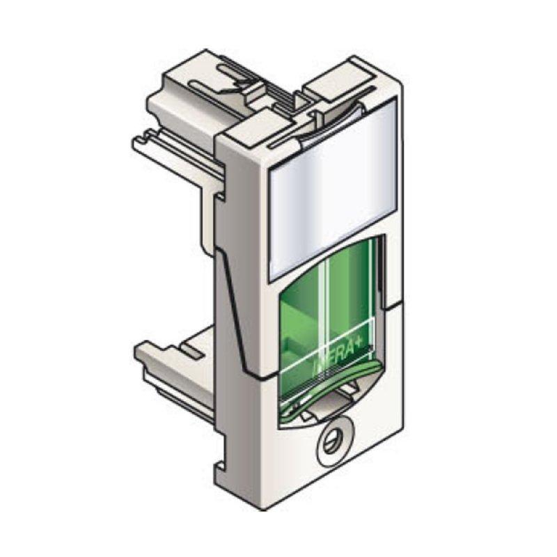 Infraplus Plastron RJ45 blanc adaptable 22.5x45mm (volet Vert) (Connectique)