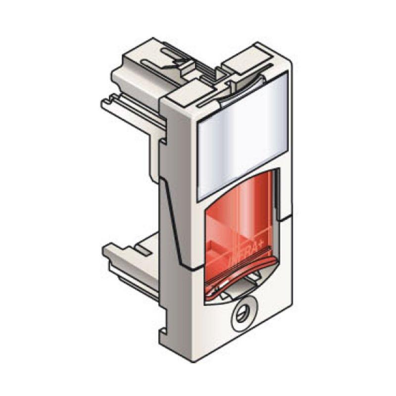Infraplus Plastron RJ45 blanc adaptable 22.5x45mm (volet Rouge) (Connectique)