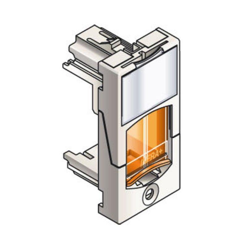 Infraplus Plastron RJ45 blanc adaptable 22.5x45mm (volet Orange) (Connectique)