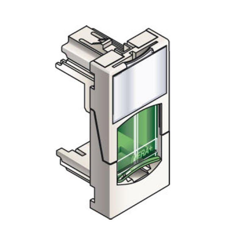 Infraplus Plastron RJ45 blanc 22.5x45mm (volet Vert) (Connectique)