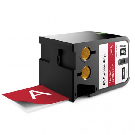 Dymo XTL Ruban (7.5m) d'étiquettes vinyle 54mm - blanc sur rouge