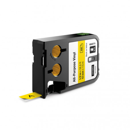 Dymo XTL Ruban (7.5m) d'étiquettes vinyle 12mm - noir sur jaune